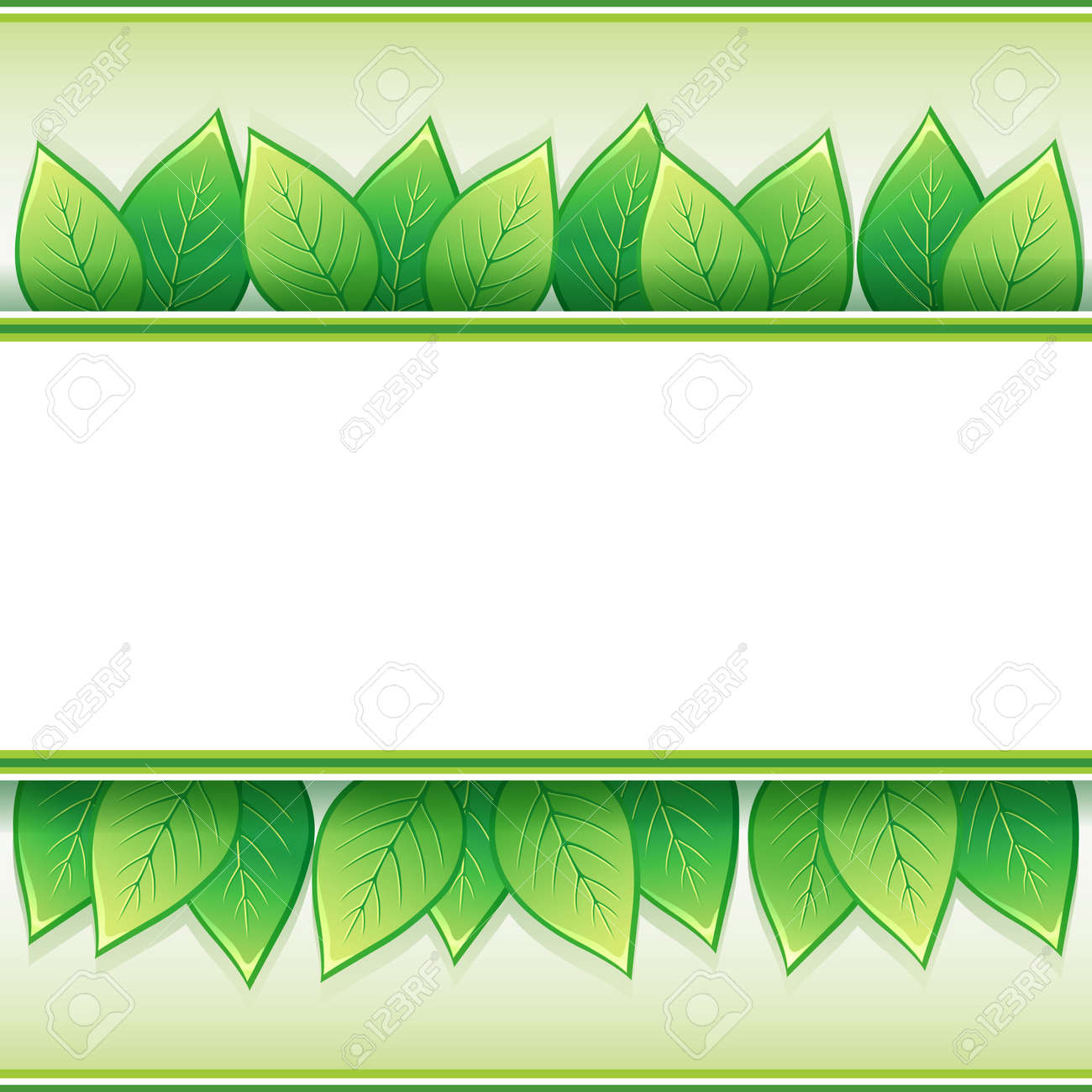 Eco background with fresh green leaves and white paper - place for text,  illustration Stock Vector - 19021468