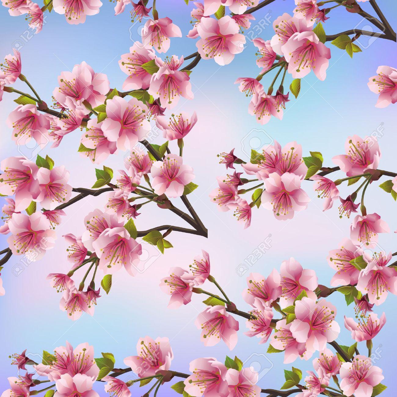 Background seamless pattern with sakura tree  Beautiful Japanese background with pink sakura blossom - Japanese cherry tree Vector illustration Stock Vector - 20287054