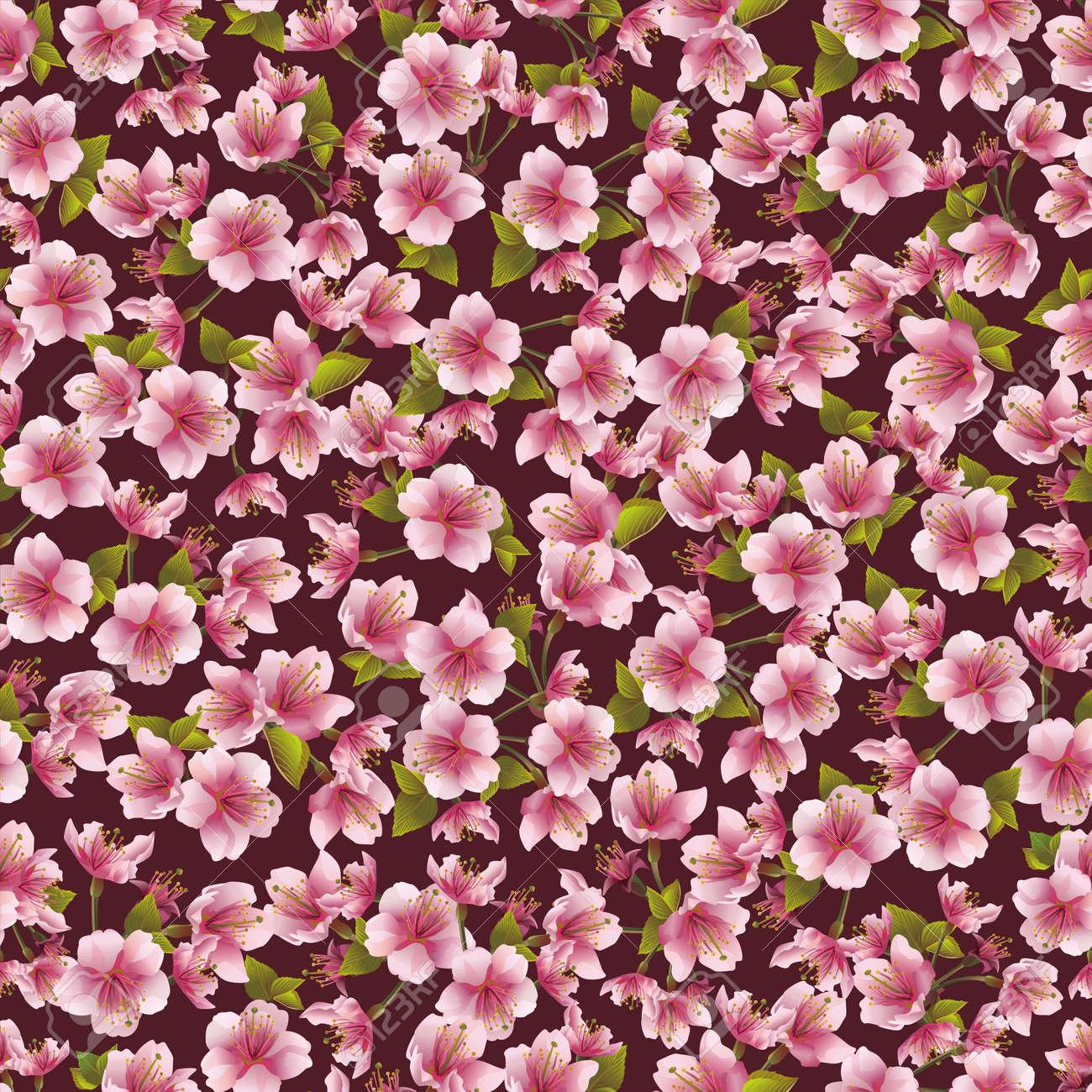 Background seamless pattern with sakura blossom- japanese cherry tree  Vector illustration Stock Vector - 20287056
