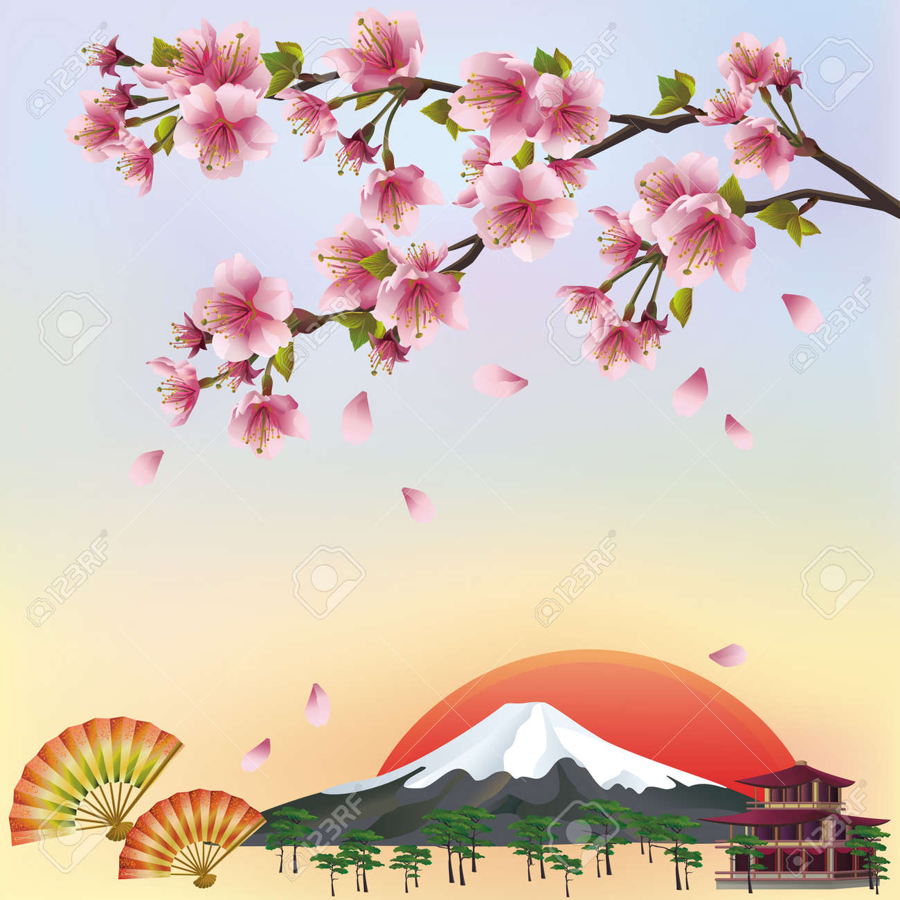Beautiful Background In Japanese Style With Sakura Blossom
