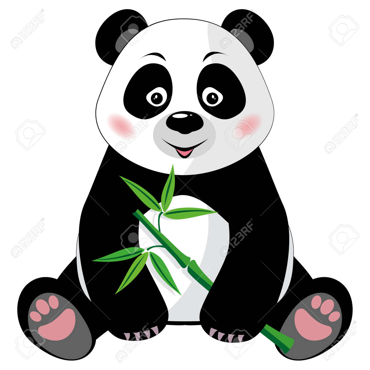 Sitting little cute panda with green bamboo isolated on white background Vector illustration, no transparency - 21171833