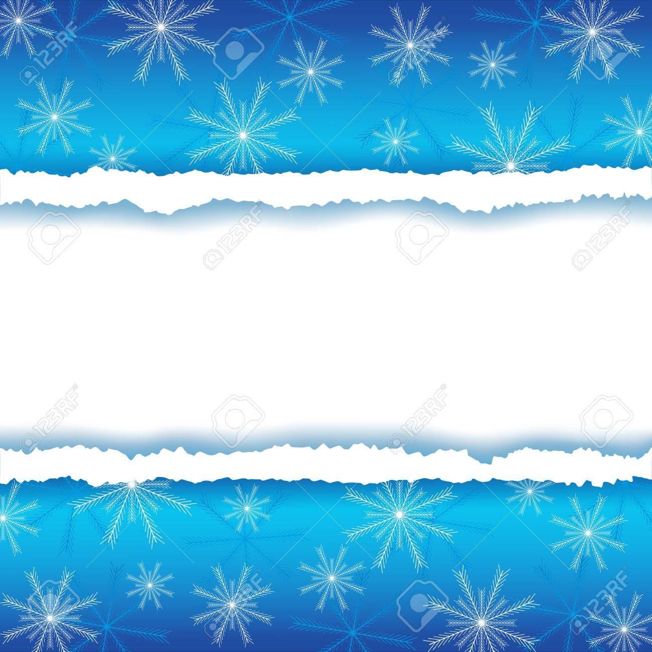 Winter-Rahmen Mit Zerrissenem Papier Und Schneeflocken Hintergrund ...