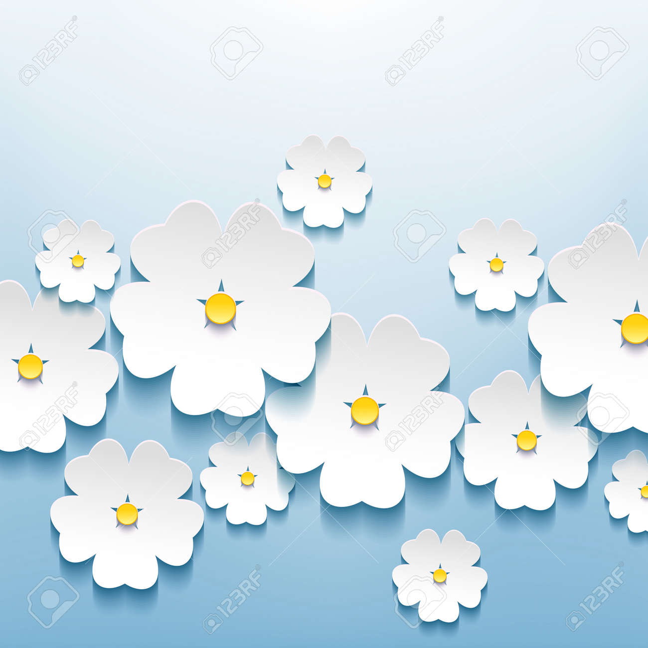 Beautiful abstract floral stylish background with 3d flowers sakura white  Creative Stock Vector - 22984923