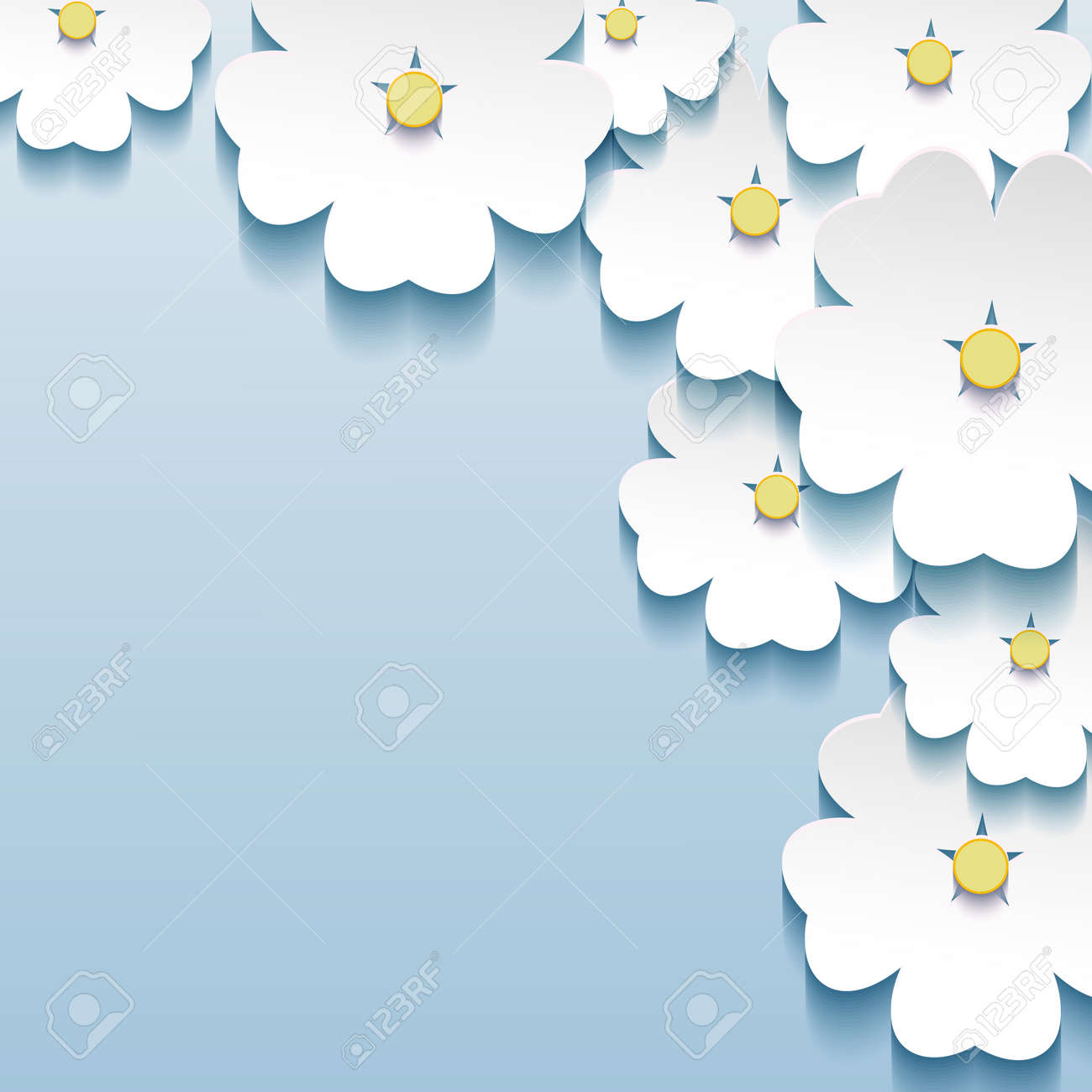 Blue - gray floral abstract background, 3d flowers sakura  Stylish trendy Stock Vector - 22984939