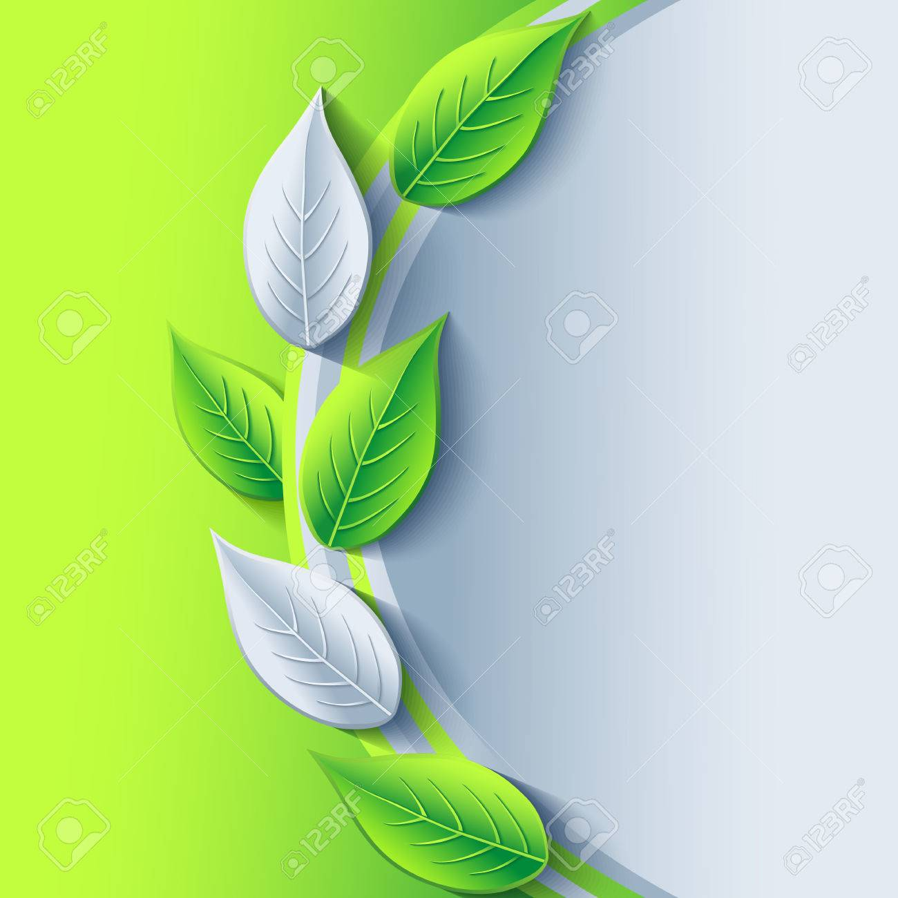 Eco stylish background with green and gray 3d leaves