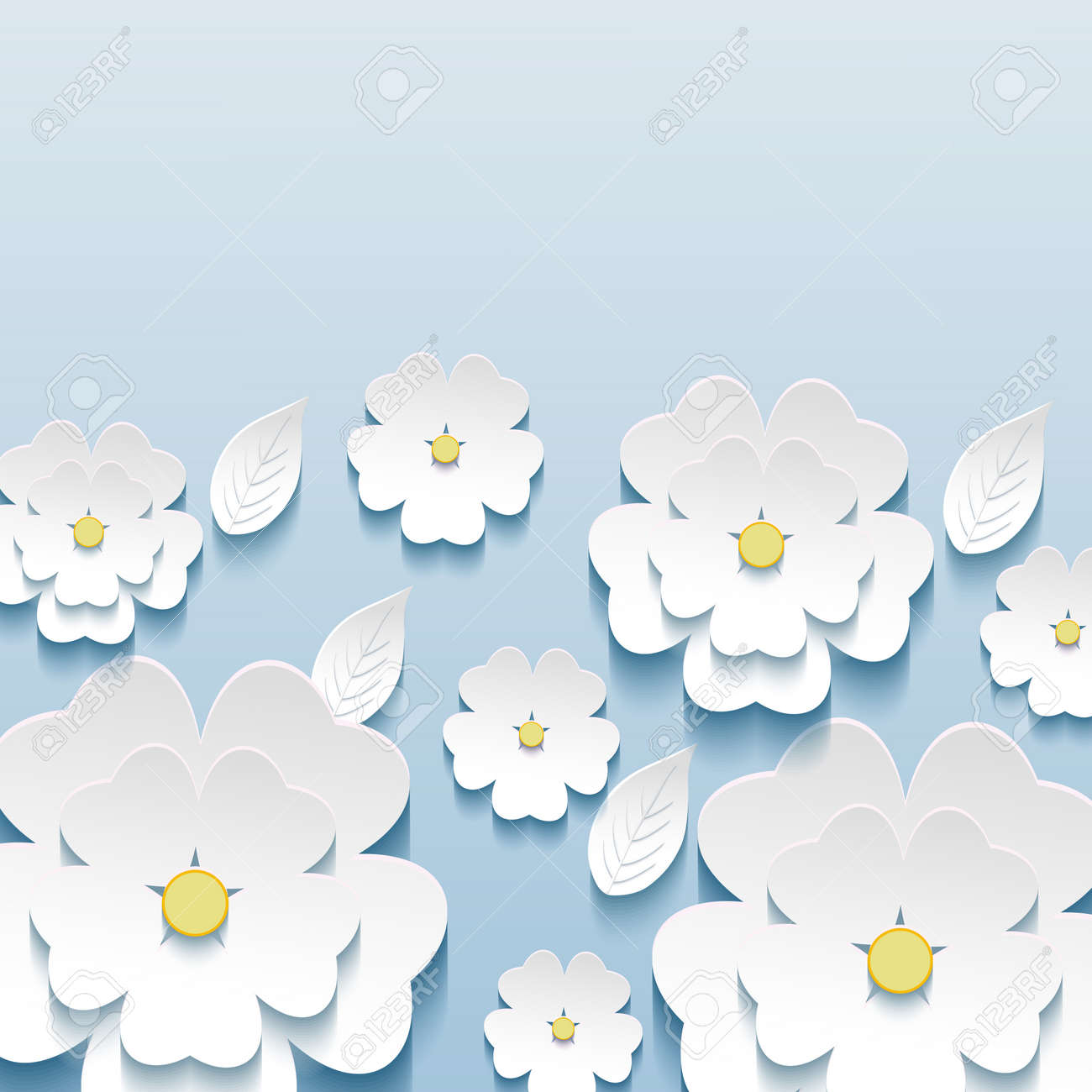 Beautiful stylish trendy wallpaper blue with 3d flowers sakura and greeting or invitation card with stylized flowers sakura modern vector background stopboris Images