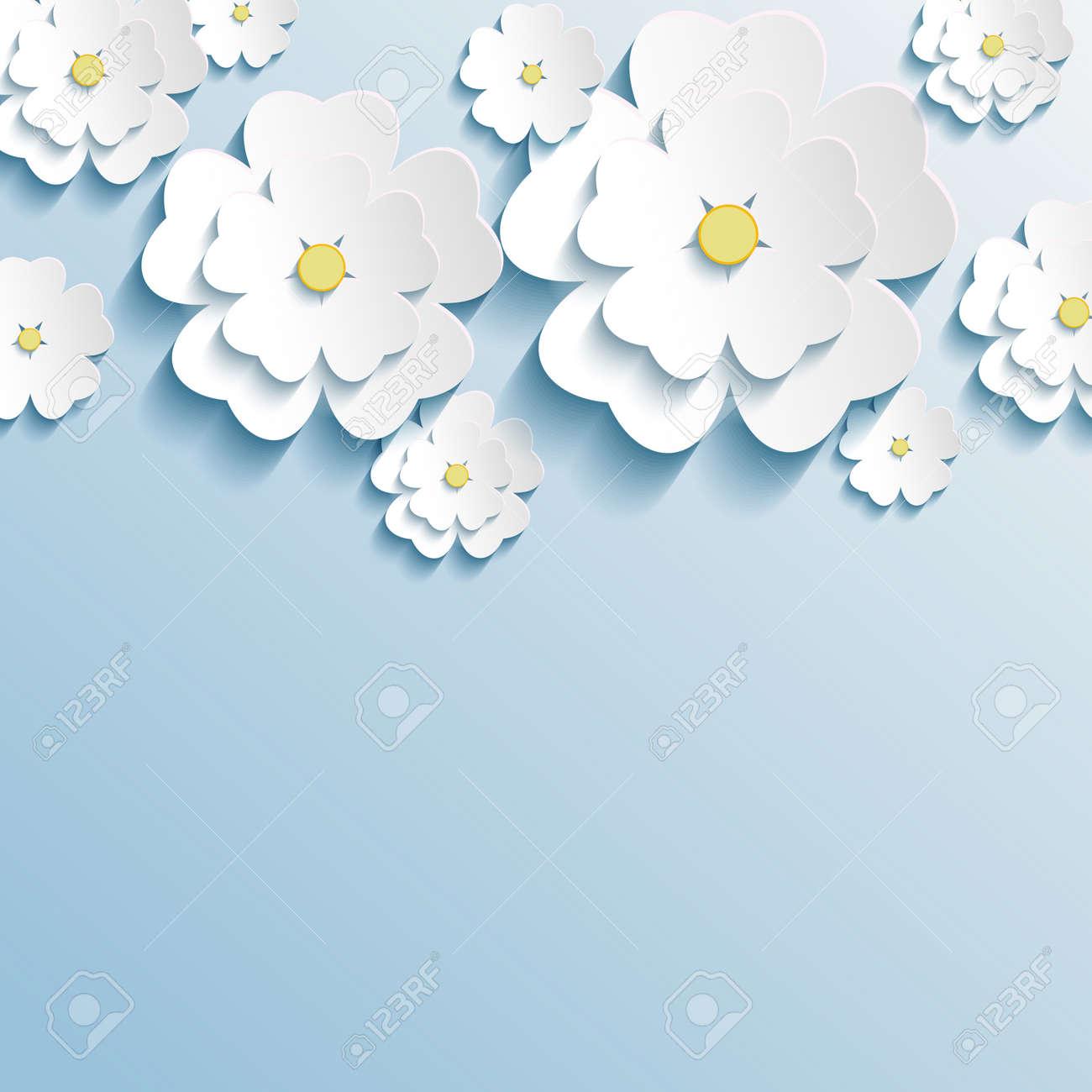 3 d 花さくら白グリーティング カードまたは招待カード様式化された花の