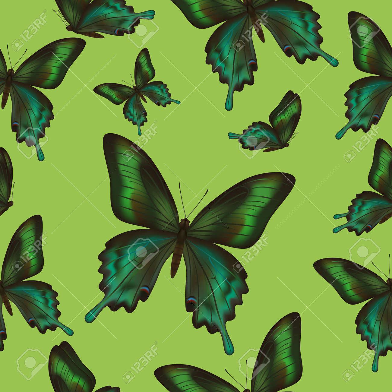 明るいスタイリッシュなおしゃれな壁紙ベクター イラスト蝶の飛行エキゾチックな熱帯の緑の美しい背景シームレスなパターンのイラスト素材 ベクタ Image
