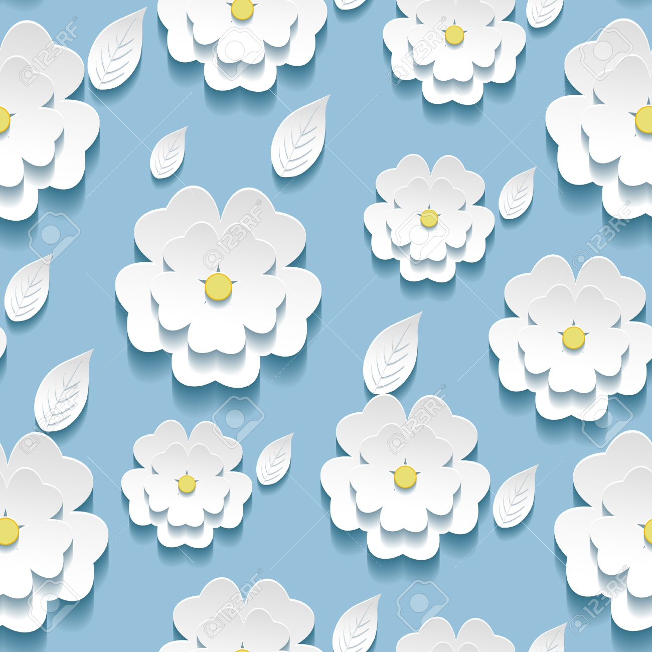 Beautiful Background Seamless Pattern Blue With White Blossoming