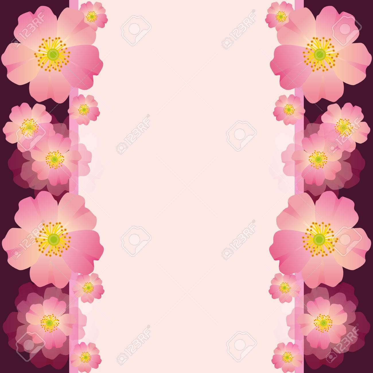 Tarjeta De Felicitación O Invitación Festiva Con Flores De Color Rosa Para La Boda Cumpleaños Aniversario Y Eventos De La Vida Hermoso Fondo