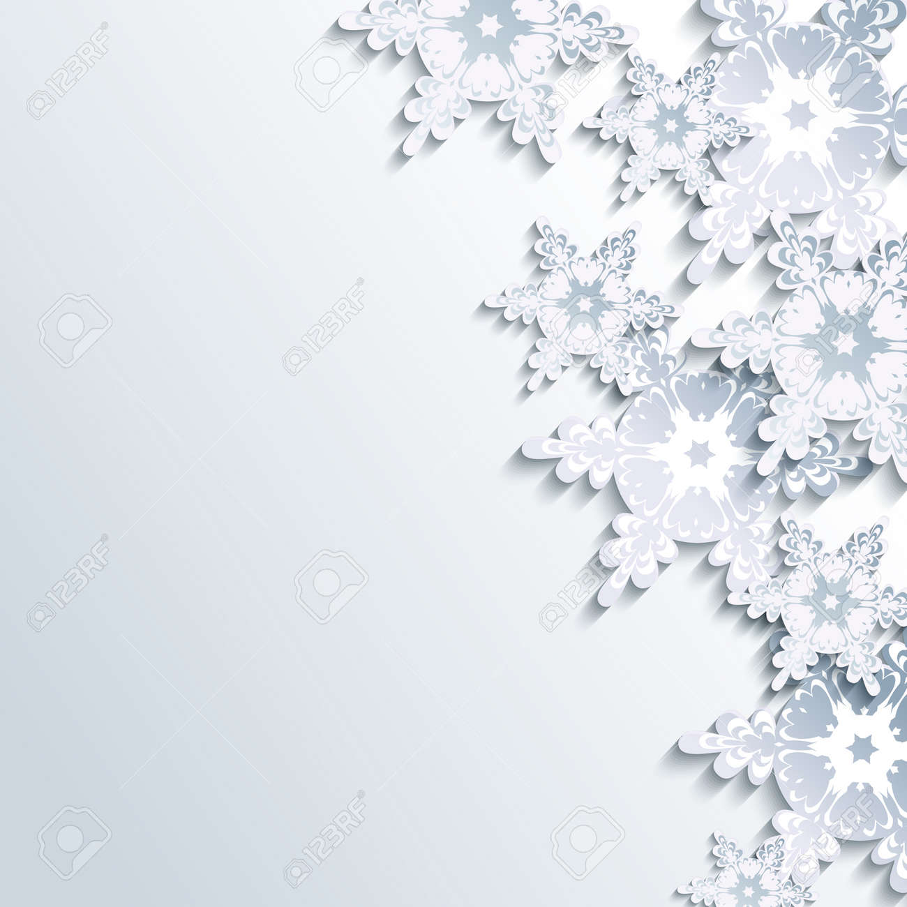 Stylish Creative Gray Background With Abstract 3d Snowflake Trendy Winter Wallpaper White And Grey
