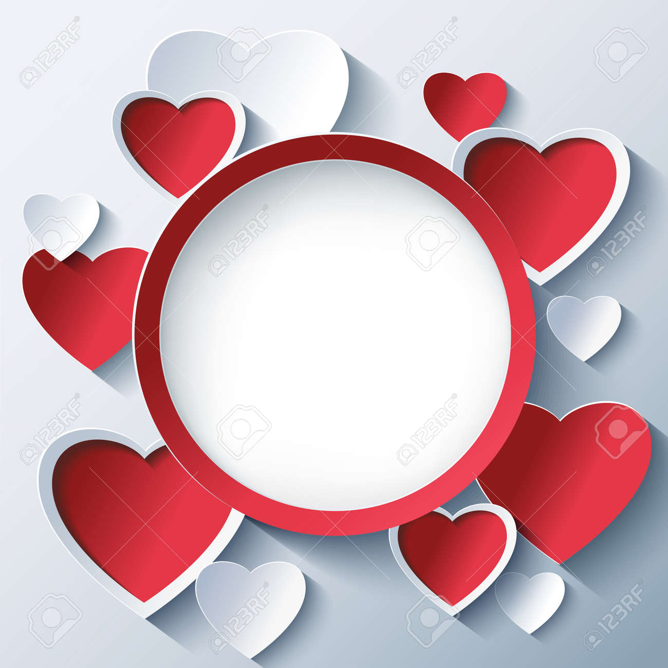 Stylish Creative Abstract Background With Red And White 3d Hearts. Valentines  Day Frame With Stylized