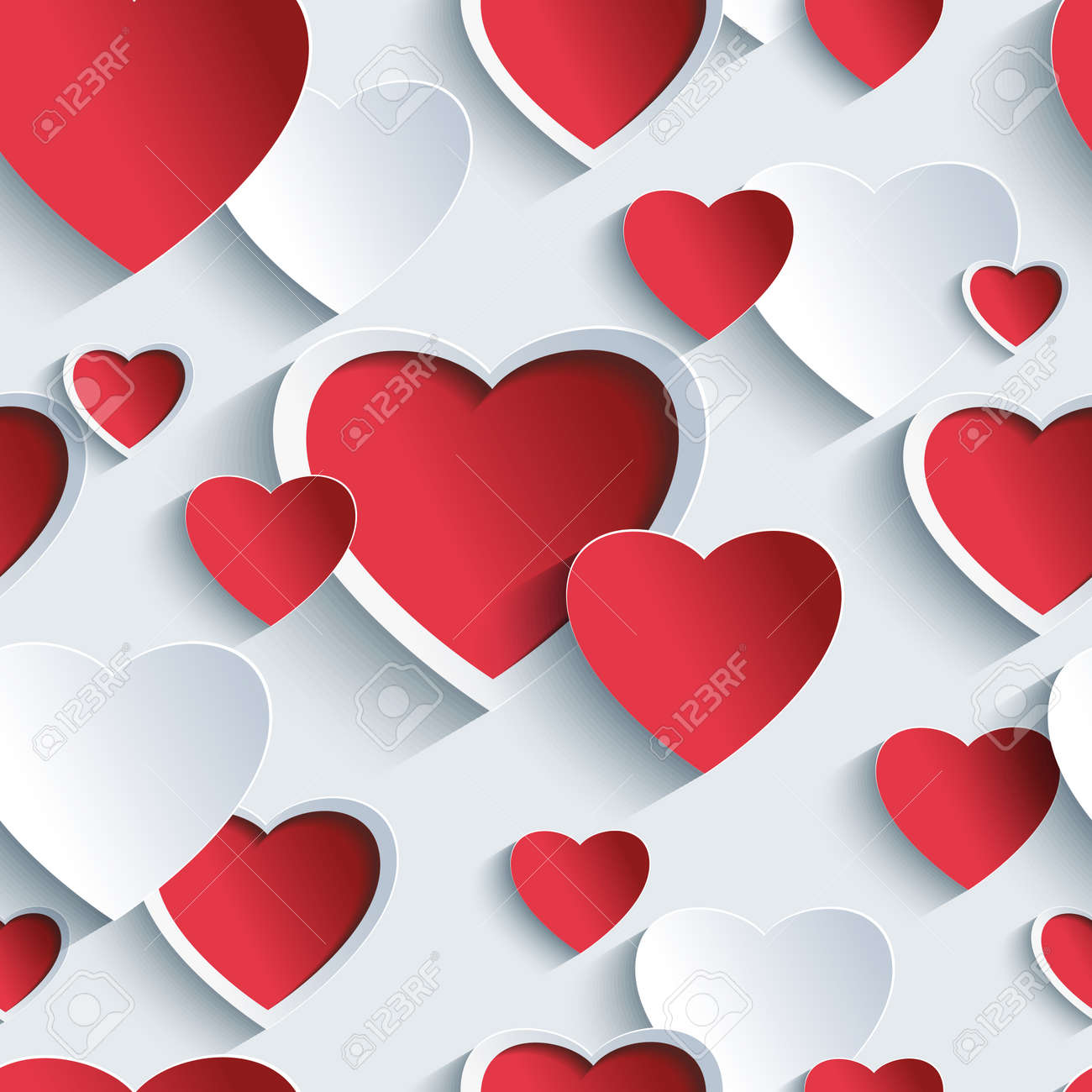 Stylish Valentines day background seamless pattern with red - grey 3d hearts. Creative abstract wallpaper with hearts. Love card for Valentines day. Vector illustration. - 33647215