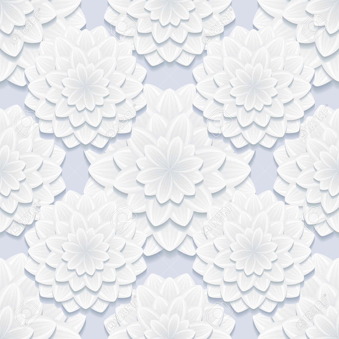 Beautiful Stylish Background Seamless Pattern Gray With 3d Flower  Chrysanthemum. Floral Trendy Creative Seamless Wallpaper