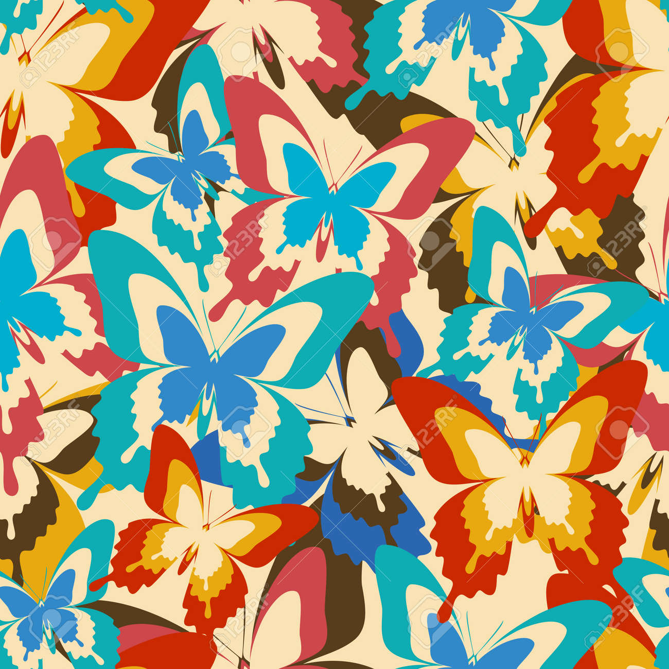 Beautiful Beautiful Background Seamless Pattern With Flying Colorful Butterflies In  Vintage Or Retro Style. Bright Stylish Design