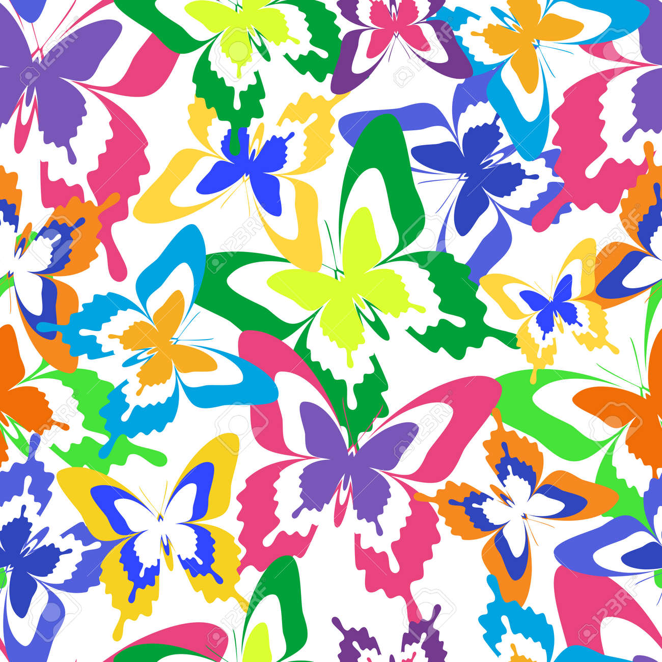 Beautiful Background Seamless Pattern With Flying Colorful Butterflies Over  White. Bright Stylish Trendy Wallpaper.