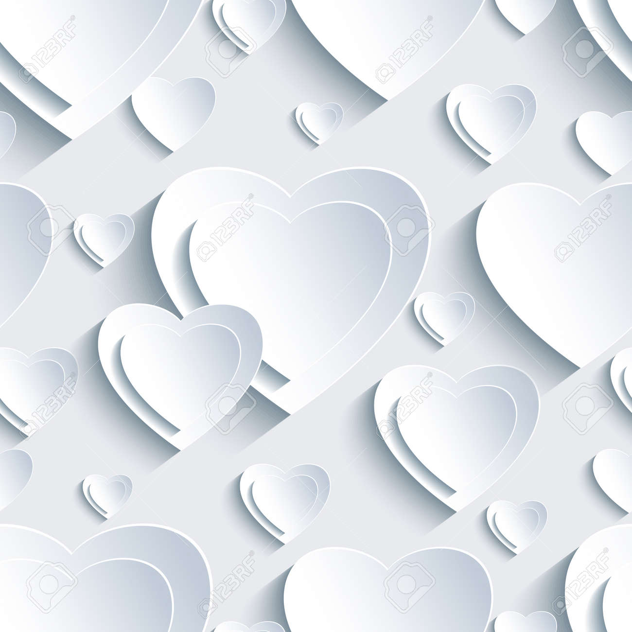 Stylish Grey Background Seamless Pattern With White 3d Paper Hearts For Day  Valentine. Beautiful Abstract