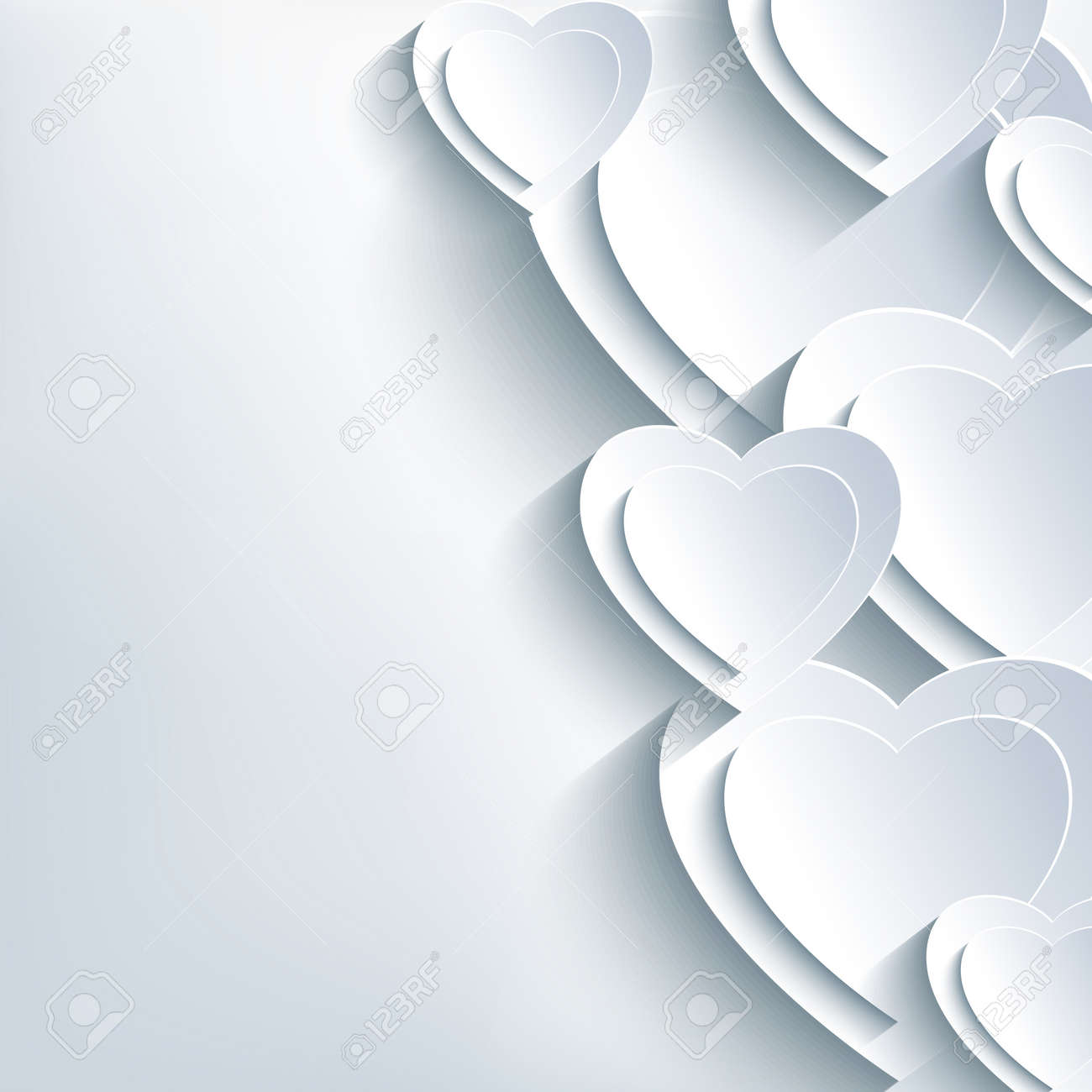 Modern Grey Valentines Day Background With White 3d Paper Hearts