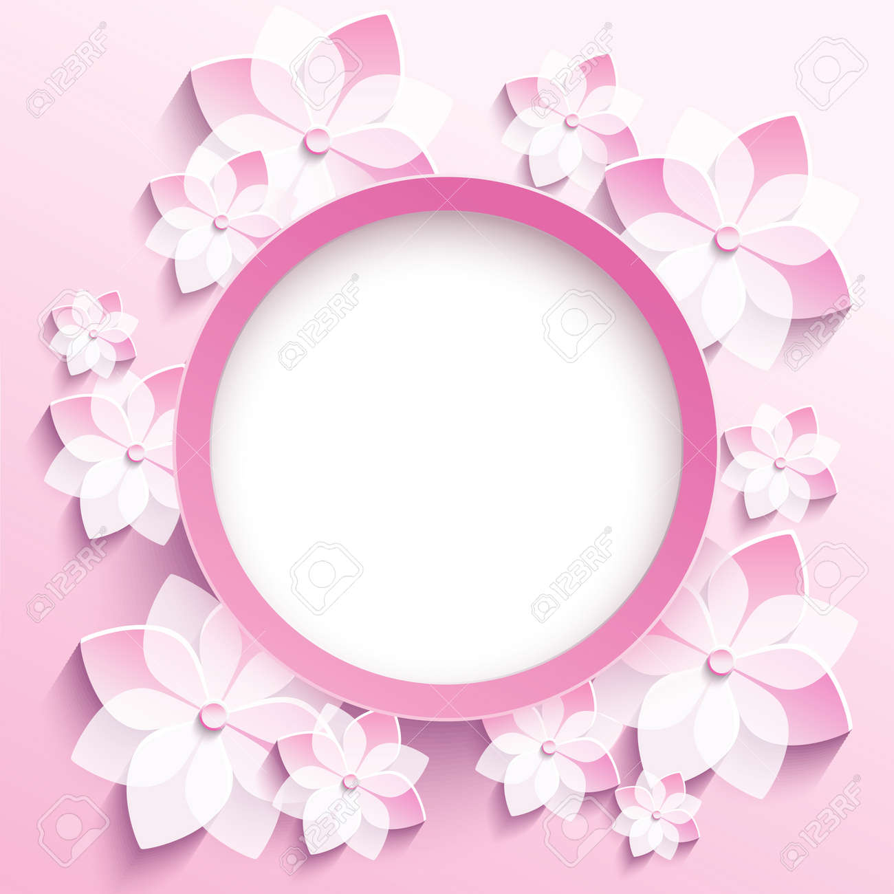 Beautiful Trendy Round Frame With 3d White Pink Flowers Sakura