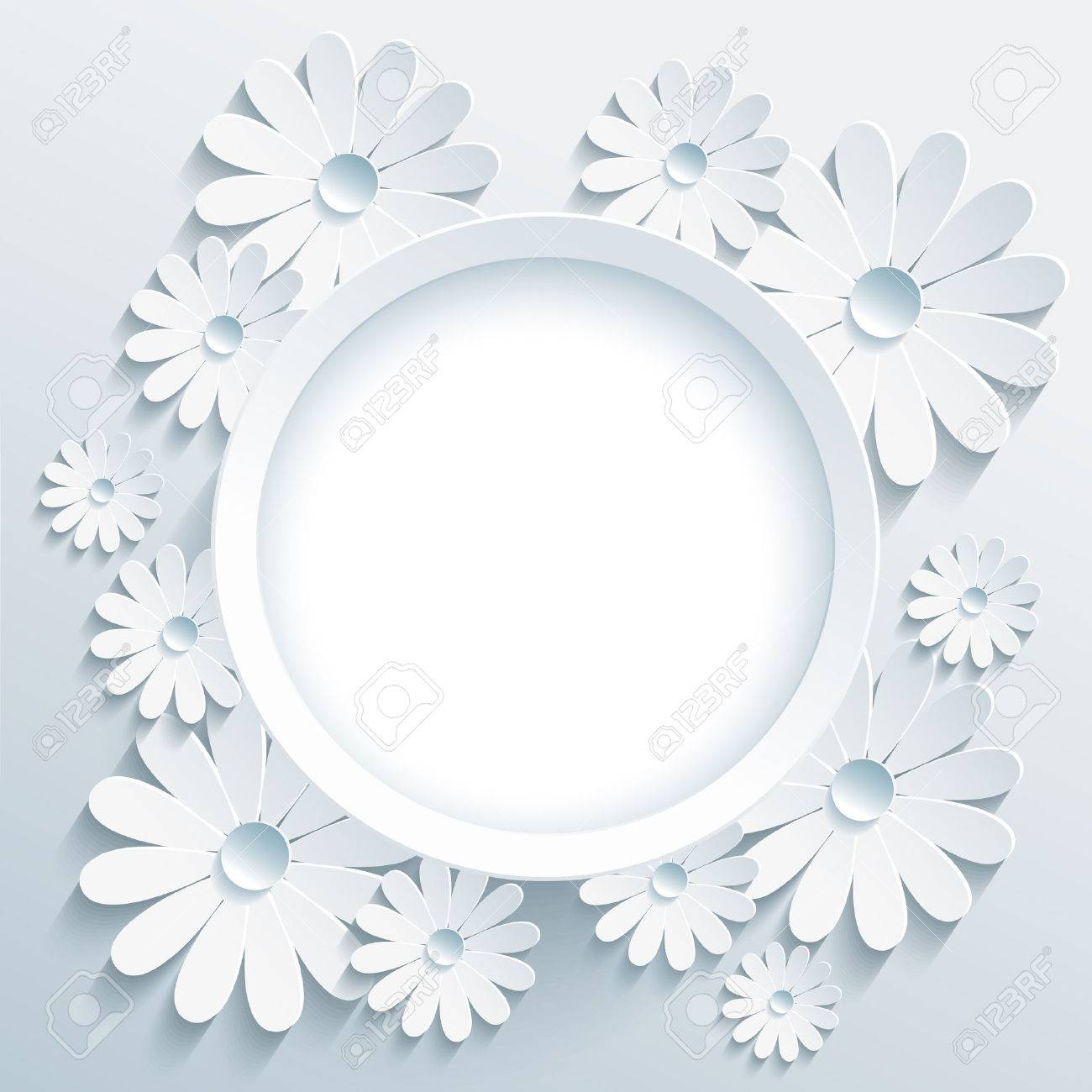 Beautiful Trendy Round Frame With White 3d Flower Chamomile ...