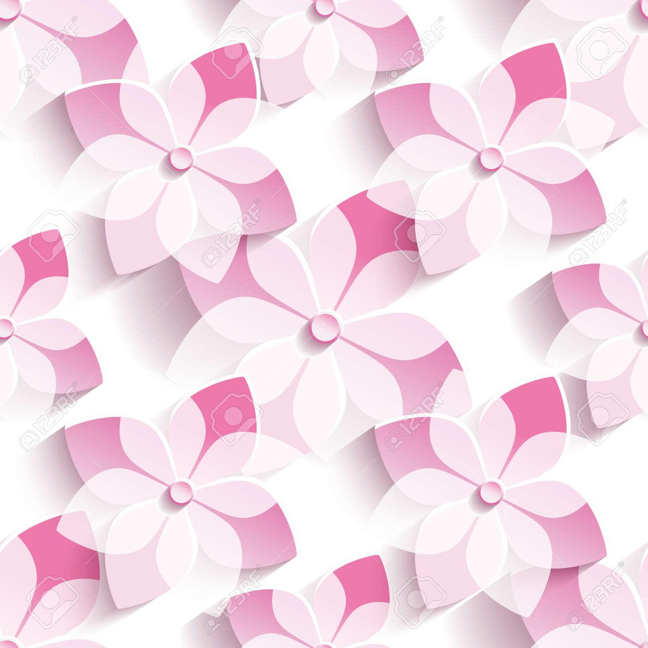Beautiful Stylish Modern Seamless Pattern With 3d Pink Sakura Blossom,  Japanese Cherry Tree. Floral