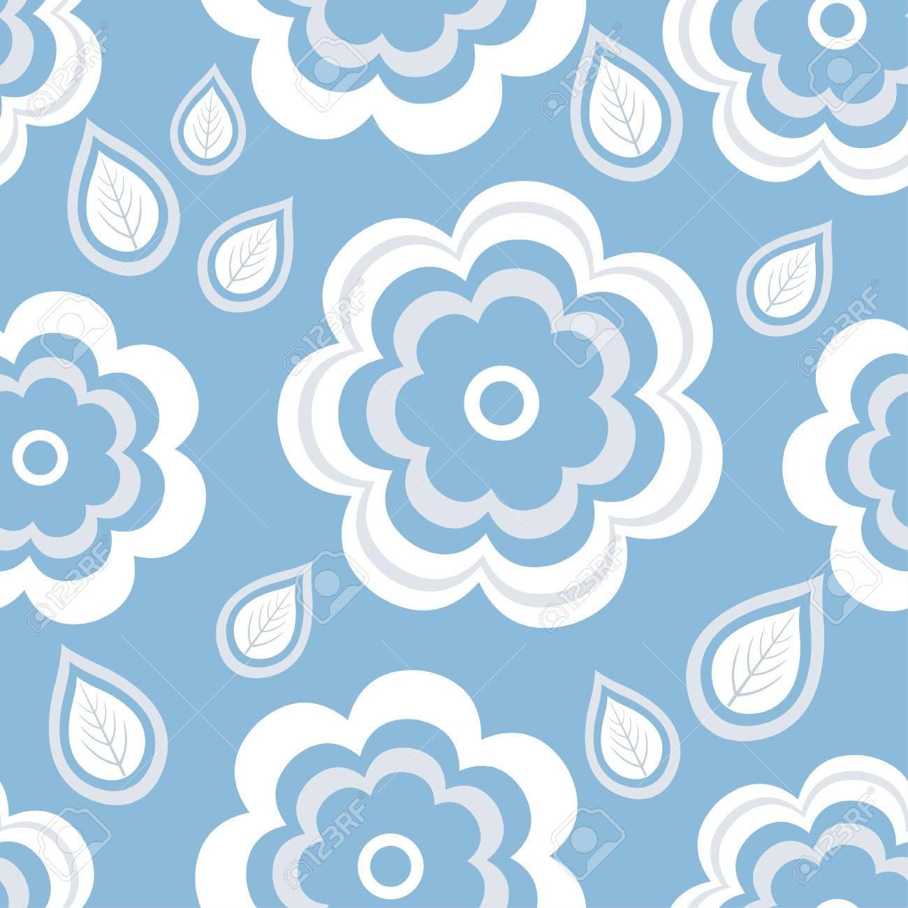 様式化された青の白い夏の花と葉で美しいおしゃれな自然背景シームレス パターン ヴィンテージやレトロなスタイルの花の壁紙 挨拶や招待カード ない透明度とグラデーション ベクトル図のイラスト素材 ベクタ Image