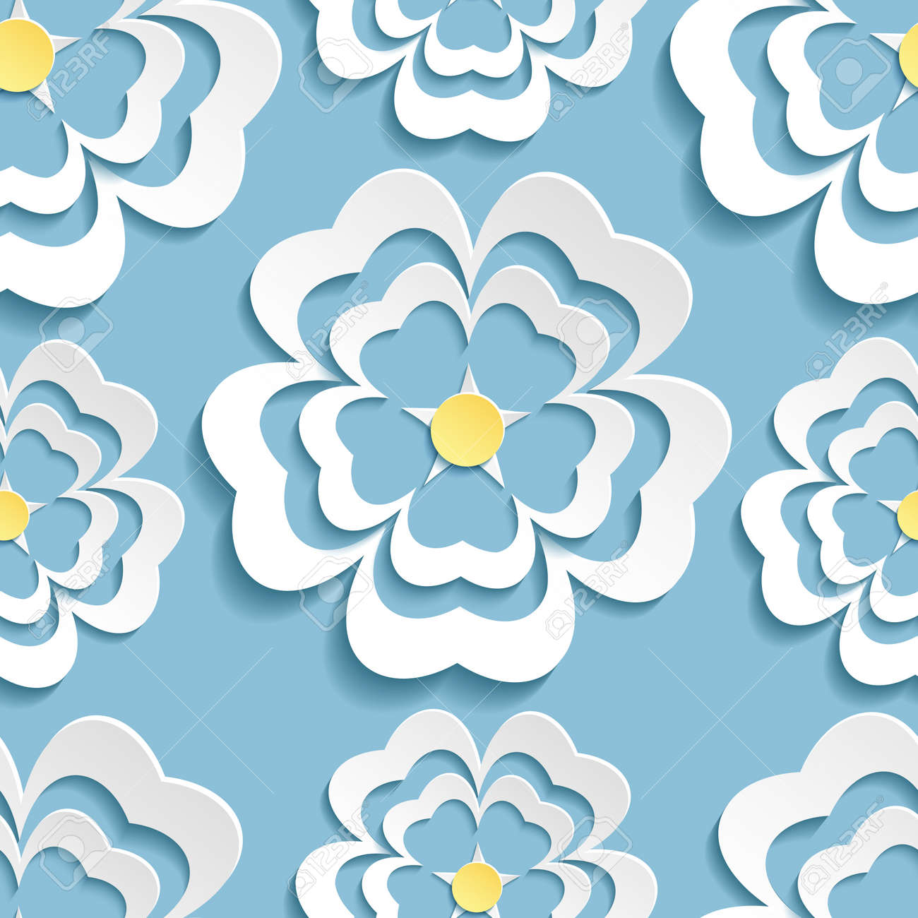 Beautiful Modern Nature Background Seamless Pattern Blue Whith White Ornate  Stylized Blossoming 3d Flower Sakura Japanese