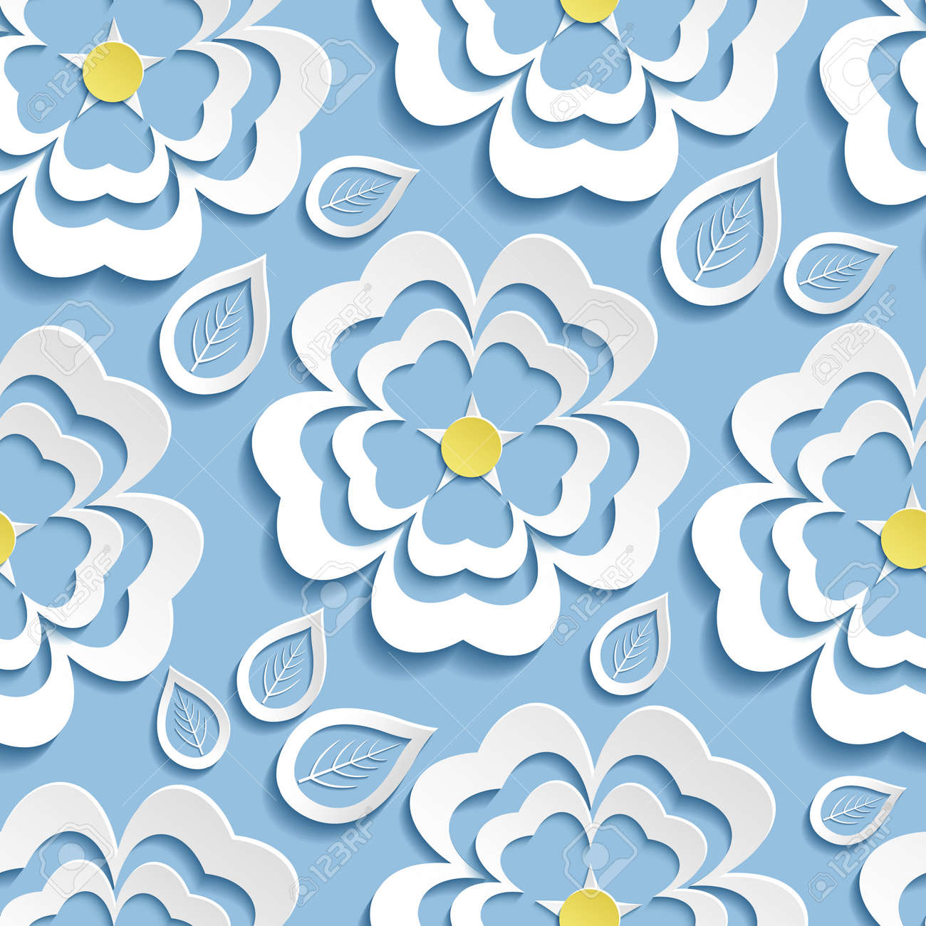 Modern Stylish Nature Blue Background Seamless Pattern With White Ornate  Stylized Blossoming Flower Sakura Japanese Cherry Tree And Leaves 3d Style.
