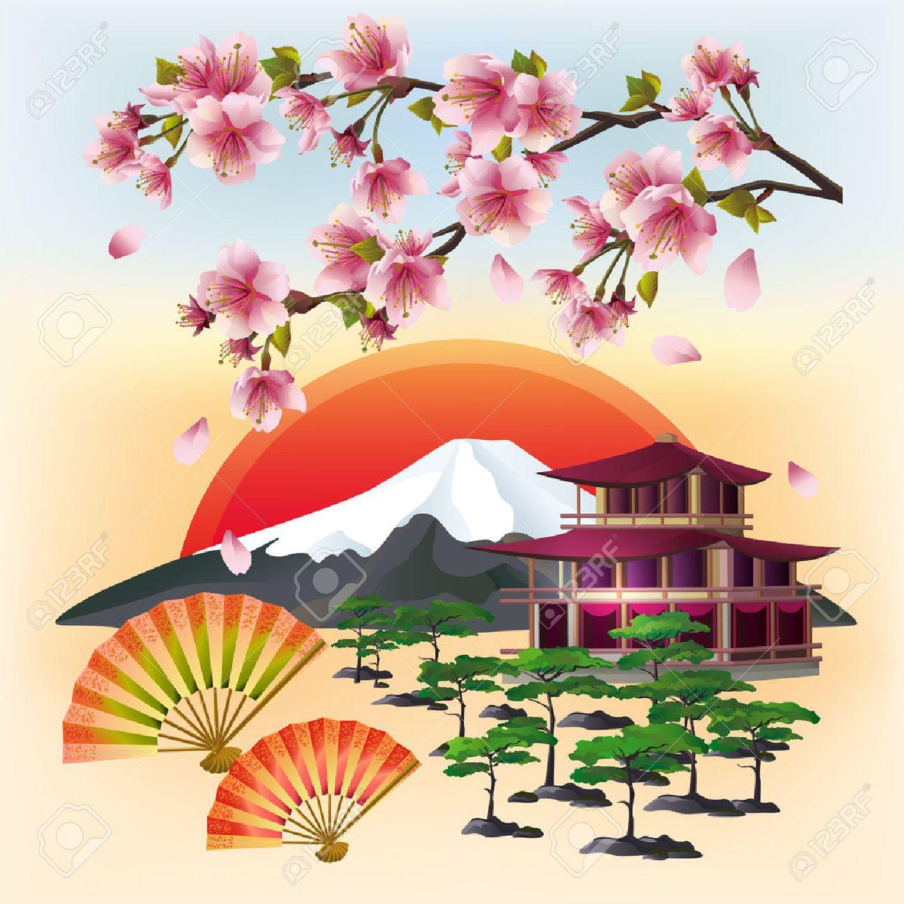 Fond Japonais Avec Sakura Fleur Cerisier Japonais Avec Des Petales