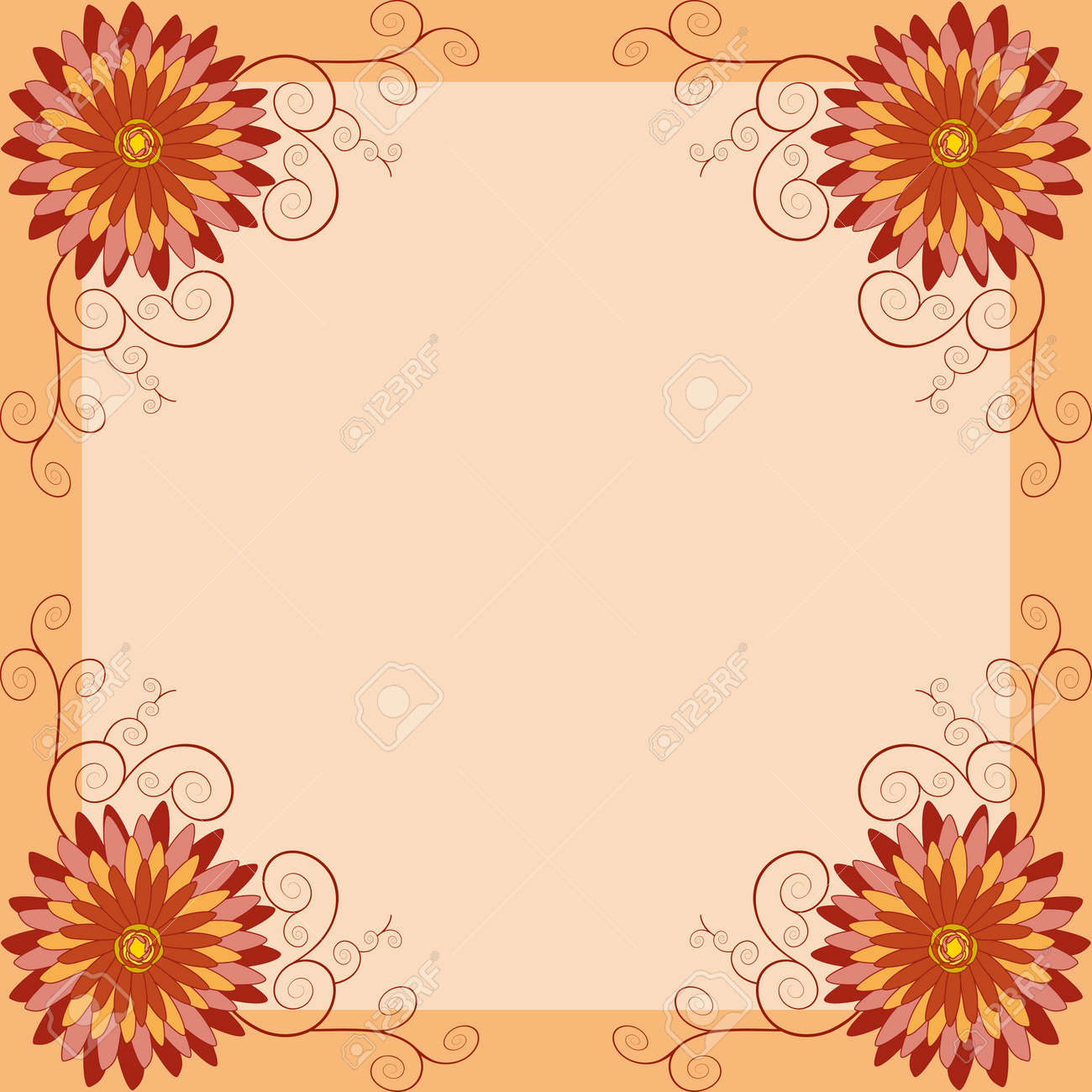 Background with orange red yellow flower chrysanthemum and swirl background with orange red yellow flower chrysanthemum and swirl invitation greeting card in vintage or stopboris Image collections