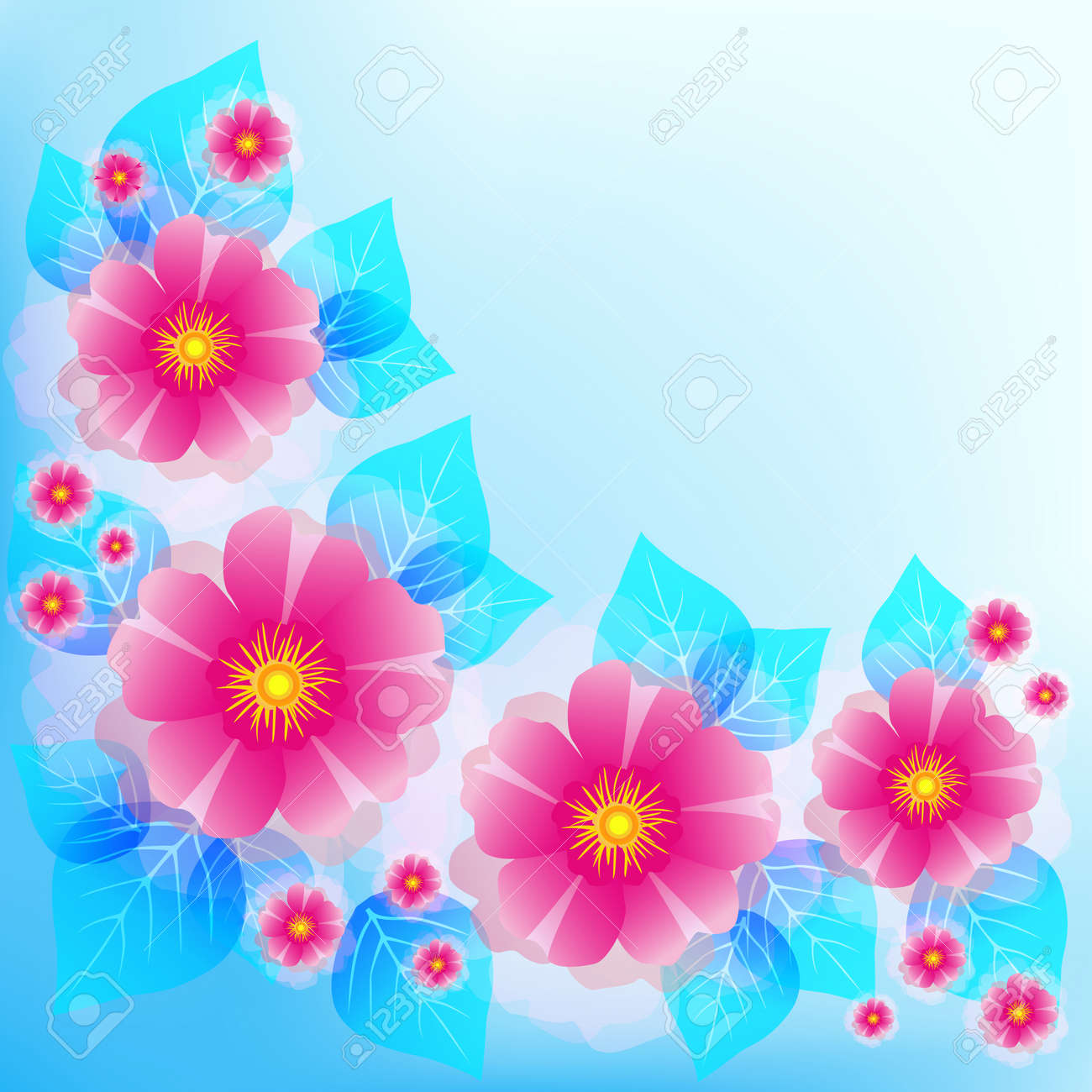 Festive Romantic Light Blue Background With Pink Flowers And