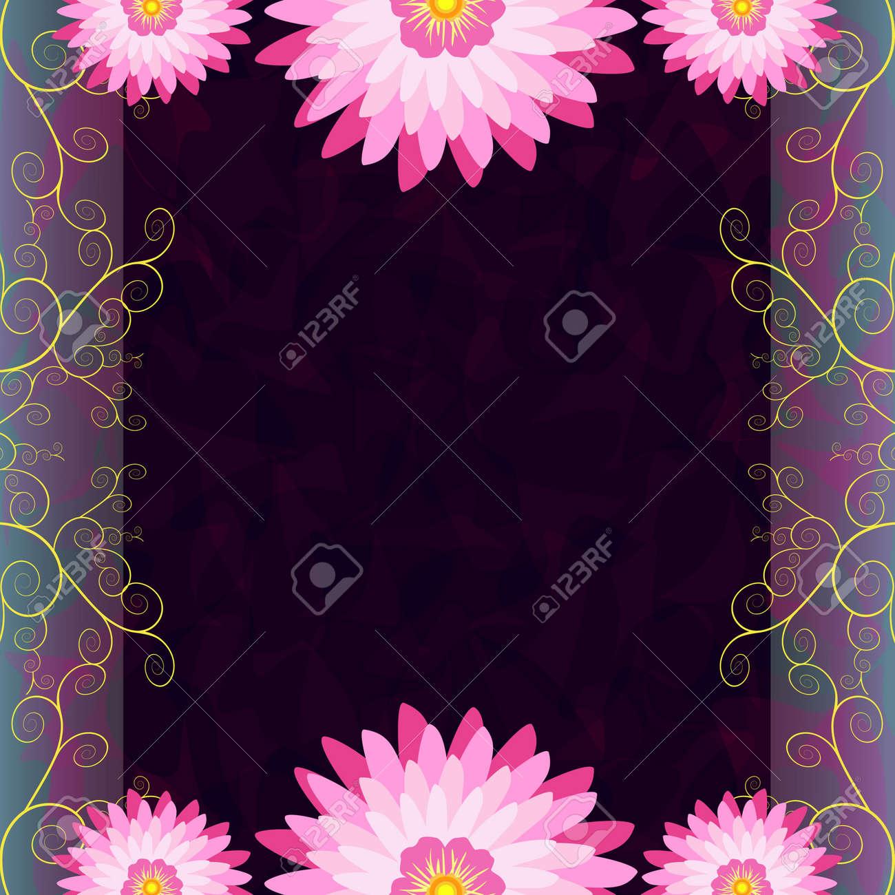 Fond Sombre De Luxe Vintage Avec Des Fleurs Roses Et Violettes Et
