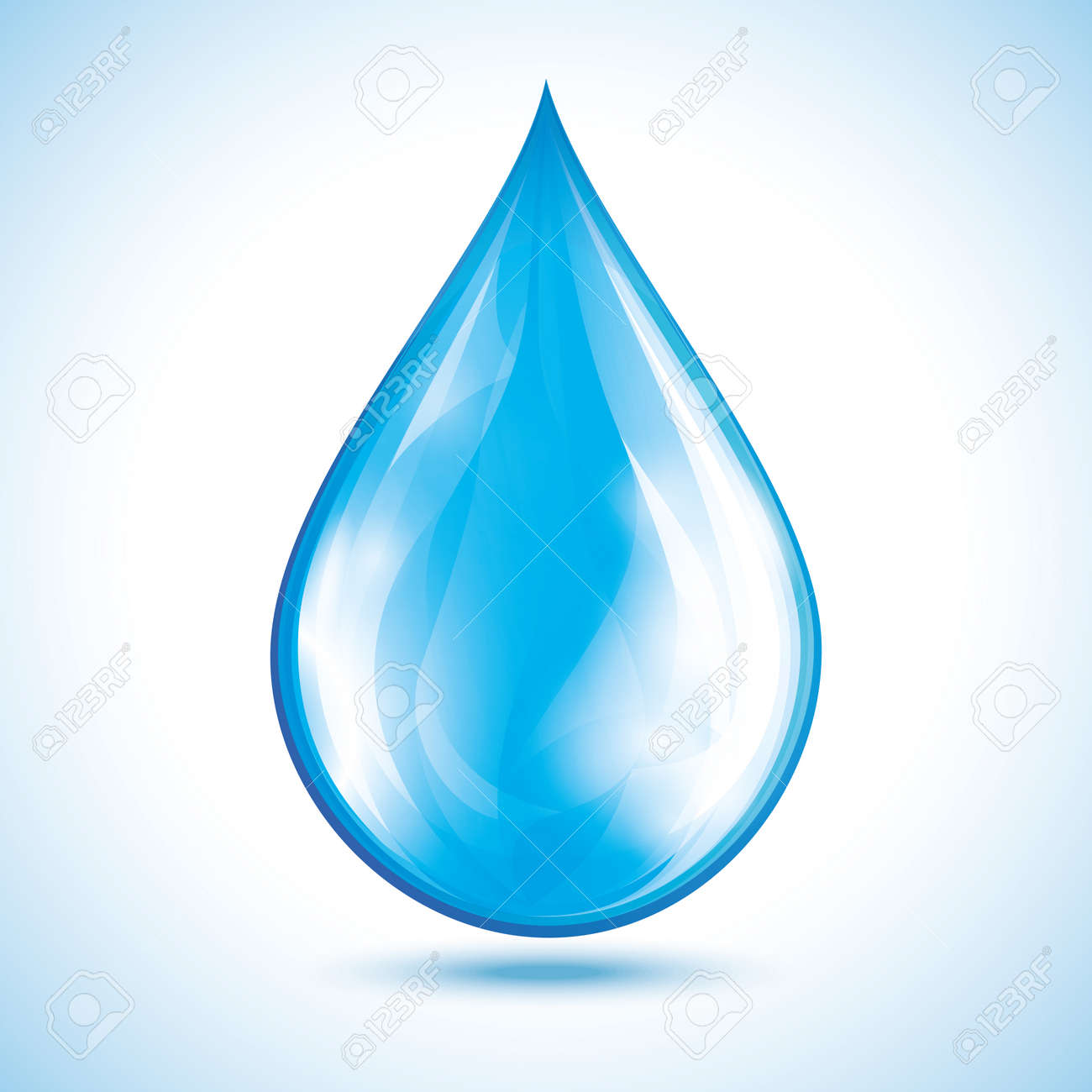 Blue glowing water drop isolated on white background. Nature object, design element for icon. - 57125205