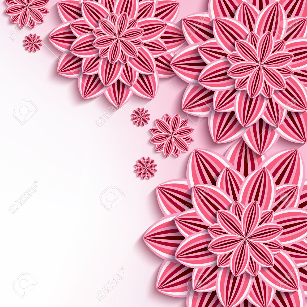 Floral Elegant Background With Pink 3d Flowers Dahlia Cutting Paper