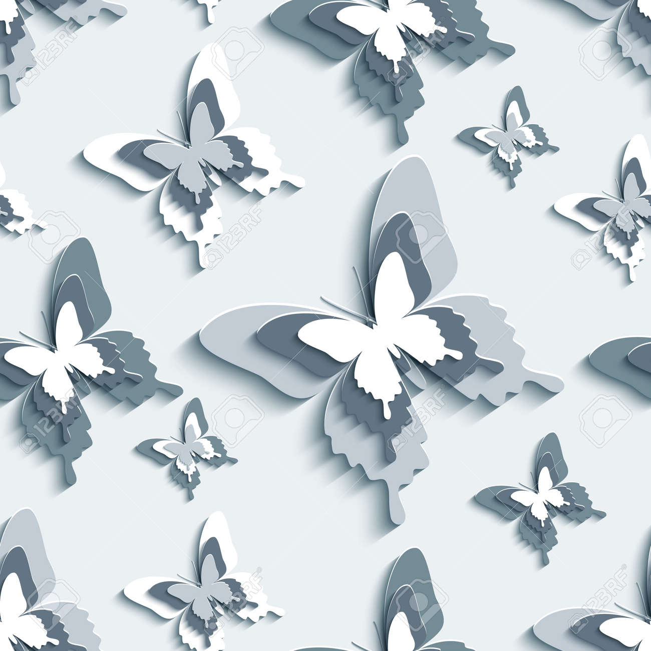Trendy Creative Wallpaper. Modern Stylish Background Seamless Pattern With  Flying White, Gray, Black 3d Butterflies Cutting Paper