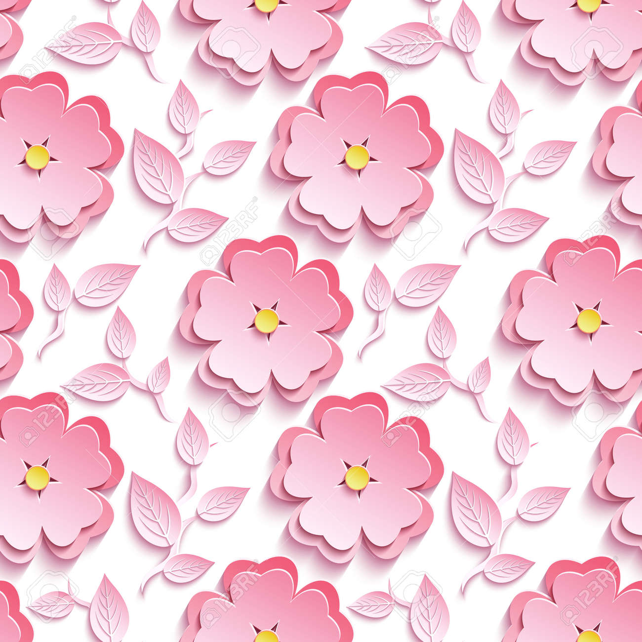Background seamless pattern with pink 3d flower sakura cutting background seamless pattern with pink 3d flower sakura cutting paper japanese cherry tree branch mightylinksfo