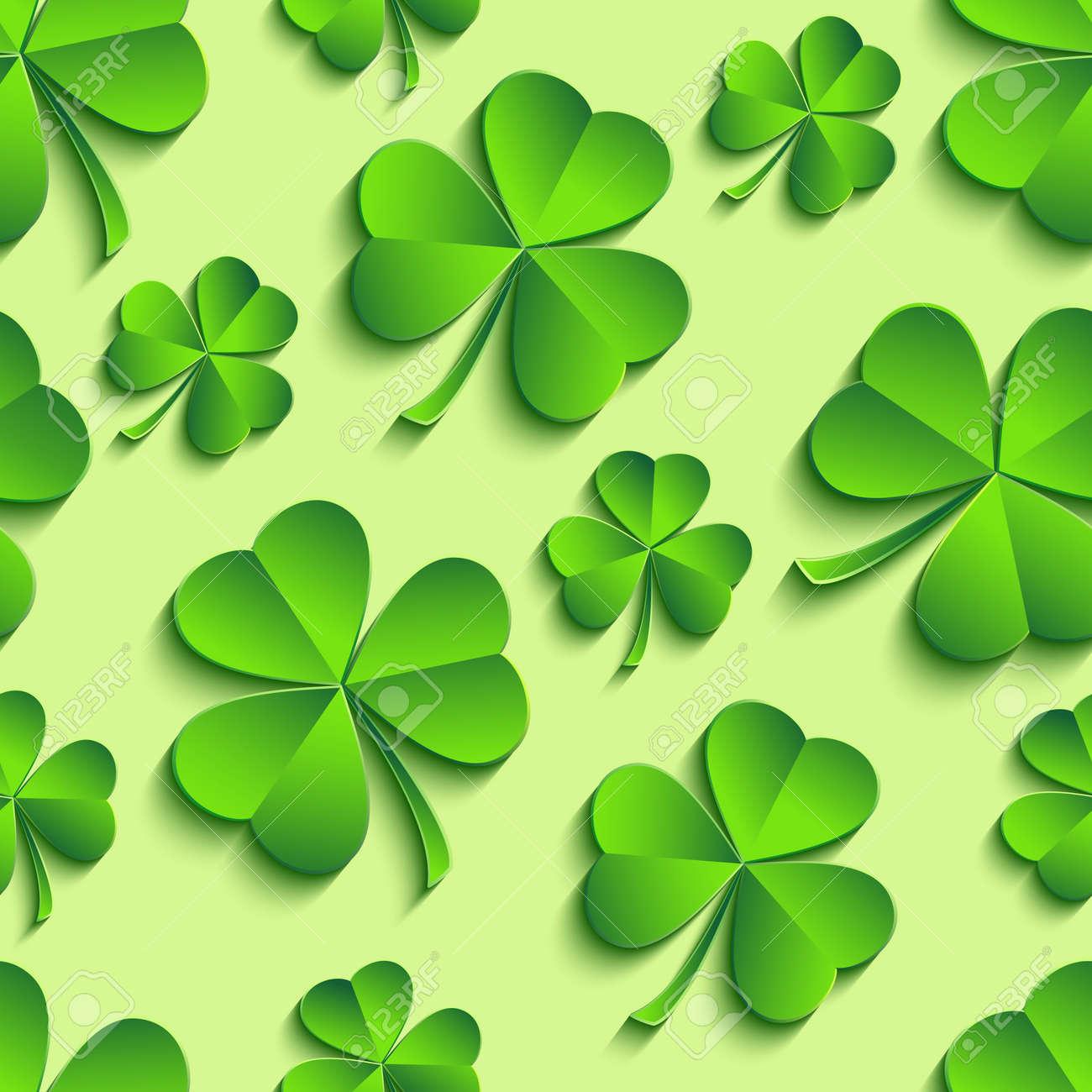 美しいトレンディな聖パトリックの日シームレス パターン緑 3 D と葉の