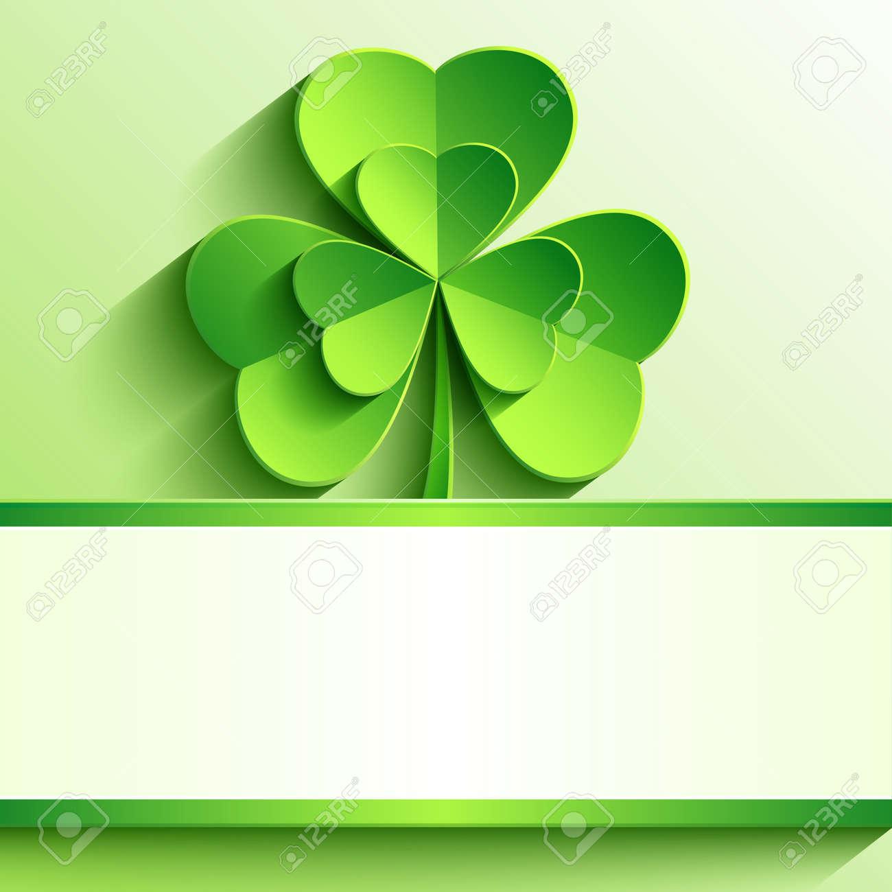 スタイリッシュなモダンな聖パトリックの日カード緑 3 D と葉の