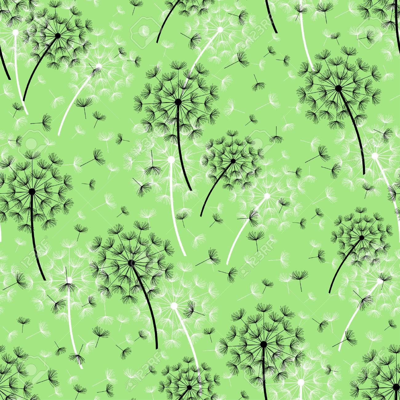 緑の背景のシームレスなパターンを美しい自然と黒 白たんぽぽと空飛ぶ