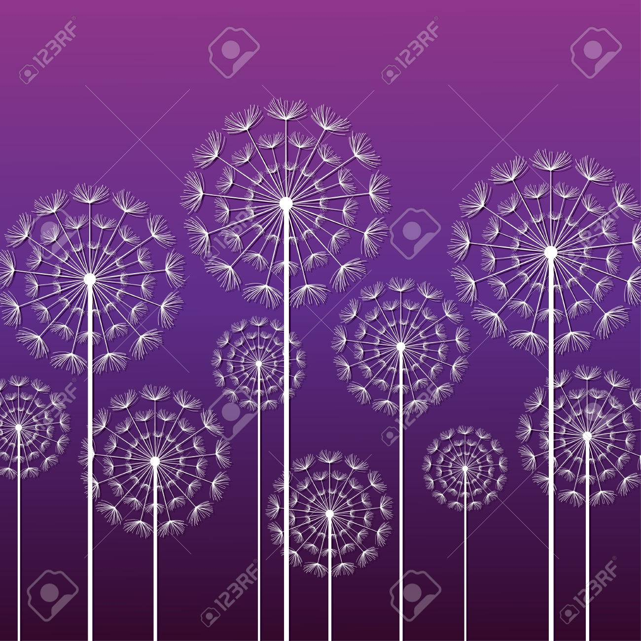 Perfect Dark Purple Ornamental Background With Stylized White Dandelions. Floral Stylish  Trendy Wallpaper With Summer Or