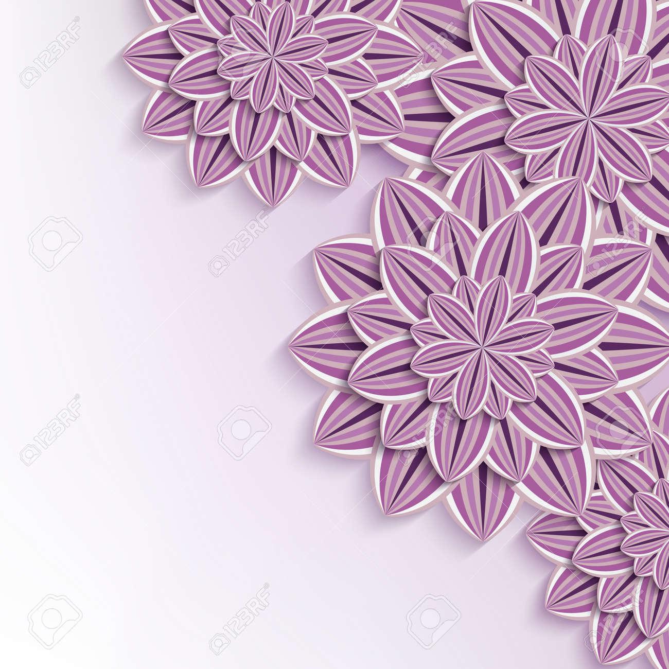 Floral Elegant Background With Purple Violet Ornate 3d Flowers