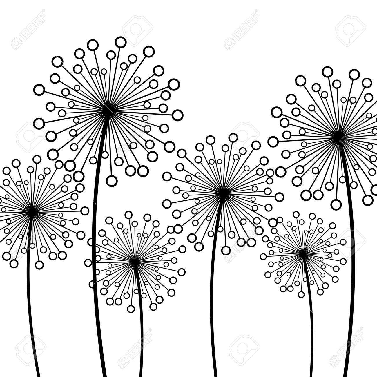 Abstract White Background With Black Stylized Decorative Dandelions Floral Stylish Trendy Wallpaper Summer Or