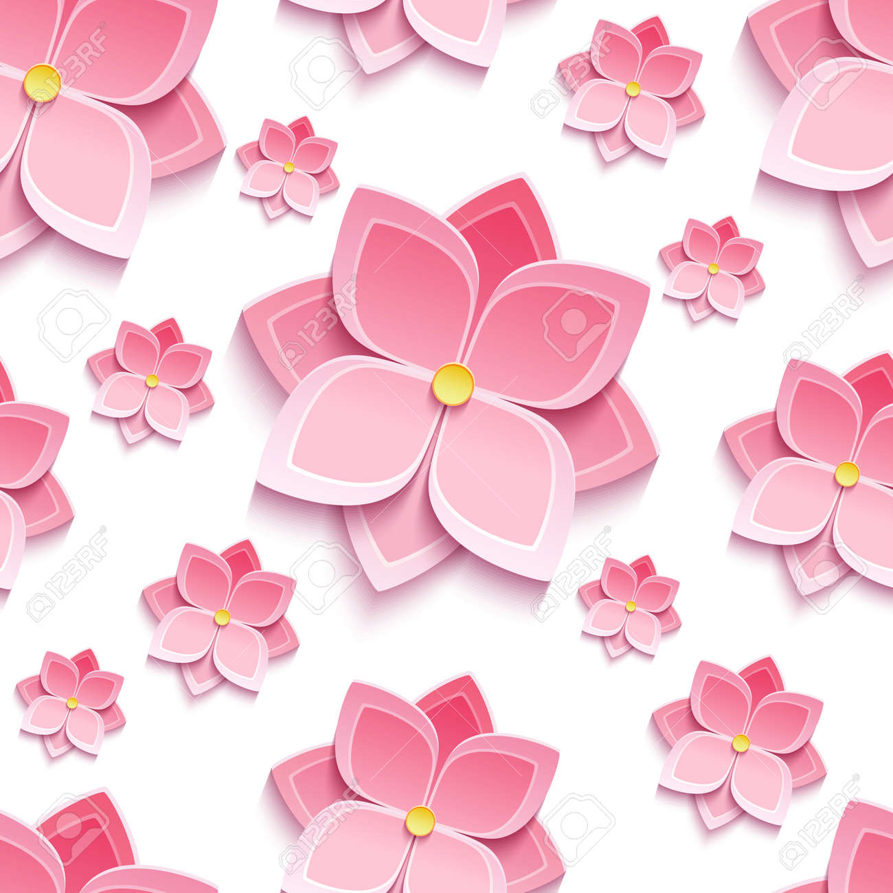 Trendy Background Seamless Pattern With Decorative Pink 3d Flower