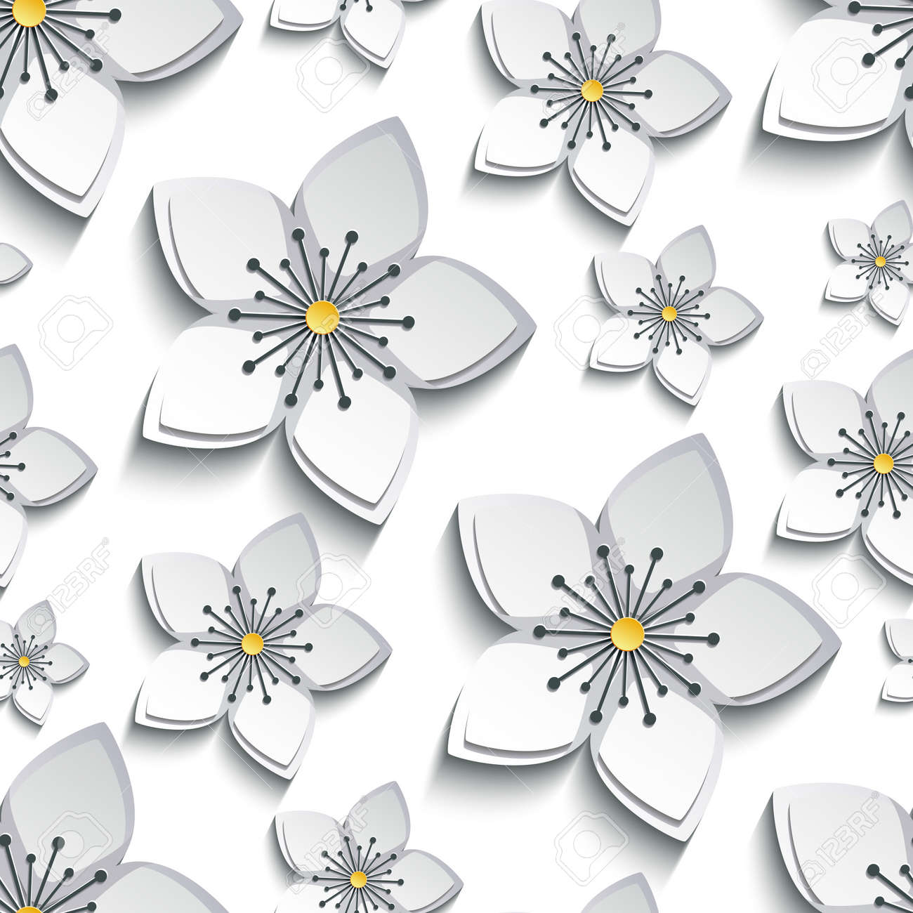 Trendy Background Seamless Pattern With Decorative White Grey 3d