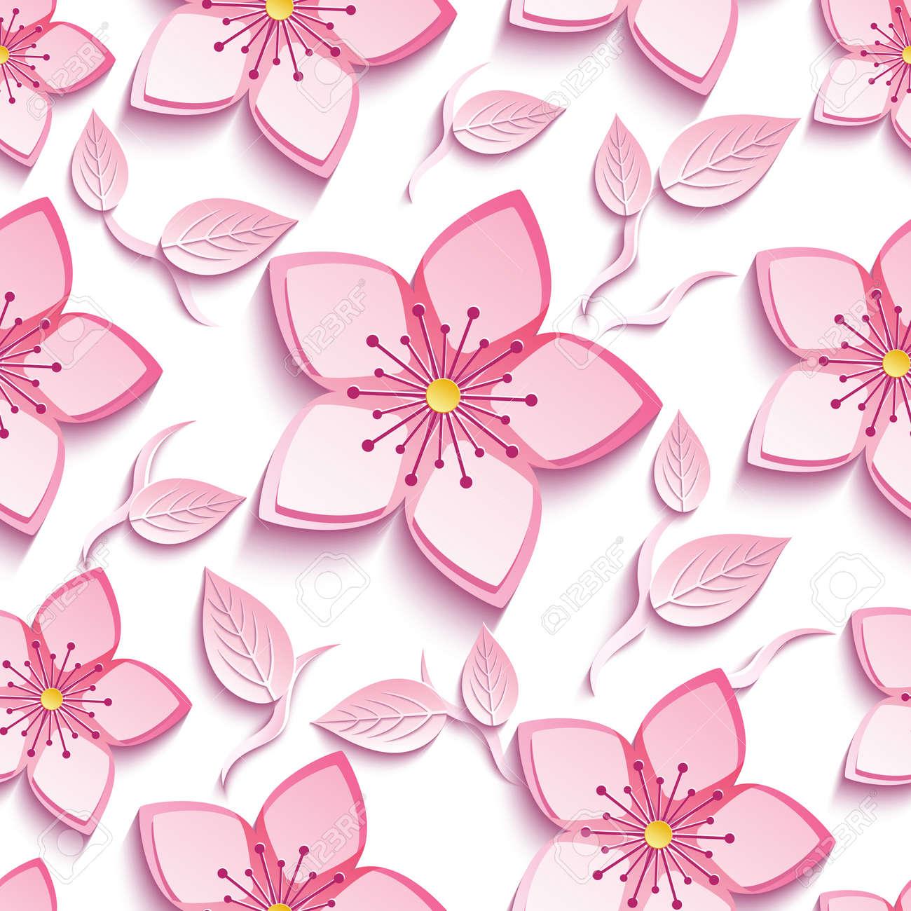 Motif Sans Soudure De Fond Trendy Avec Fleur De Sakura 3d Rose