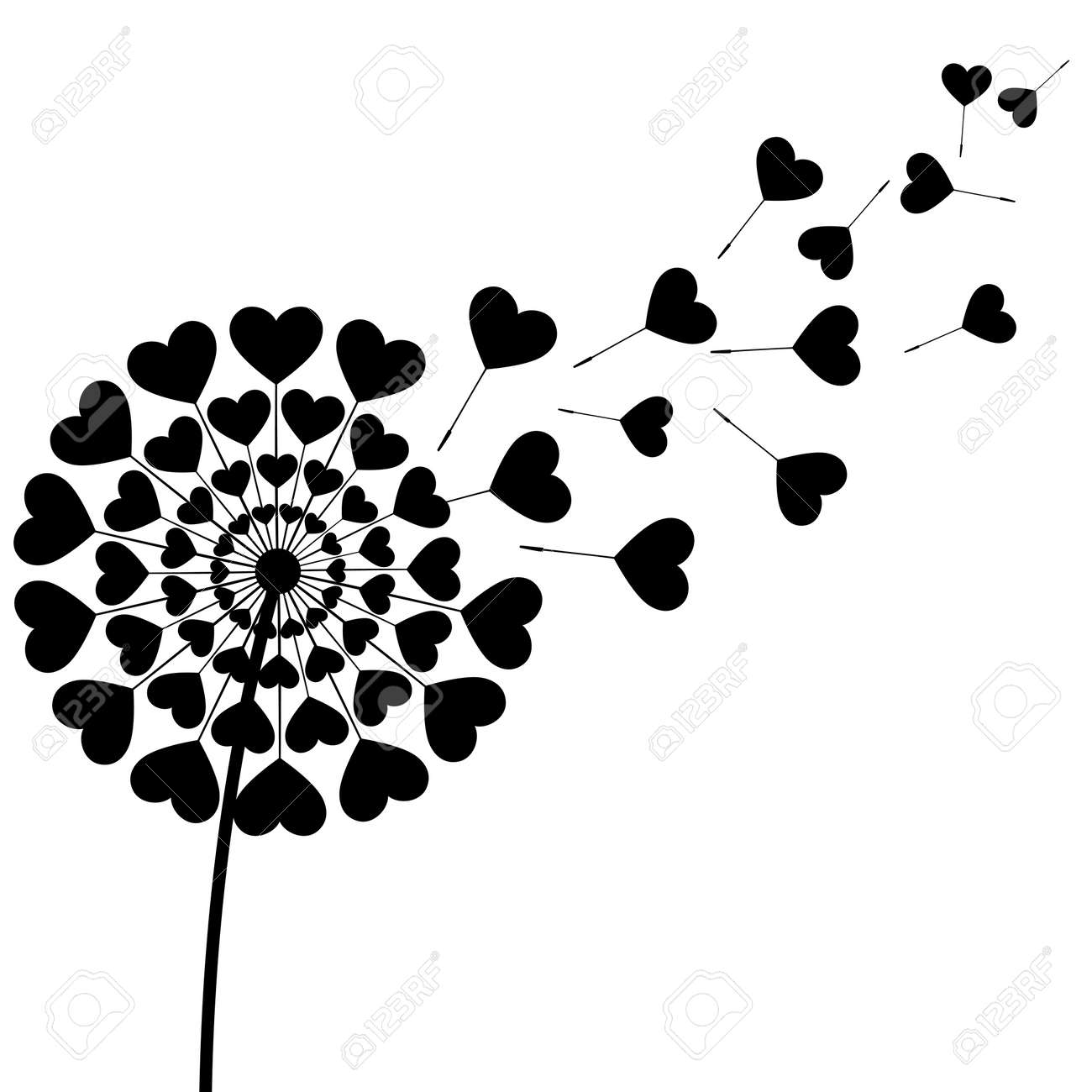 Beautiful Stylized Black Dandelion Blowing Isolated On White