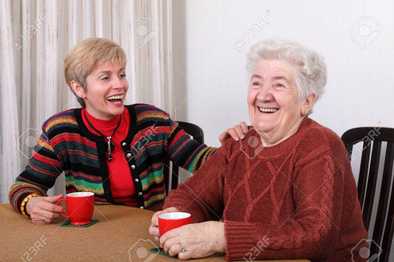 Senior and mature womans drinking caffee and laughing Stock Photo - 8808158