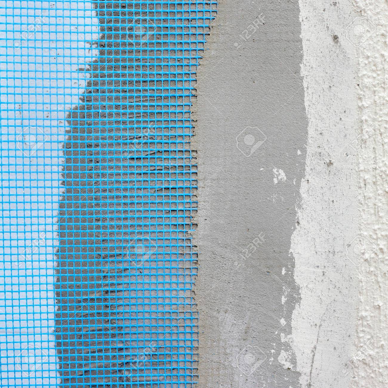 Closeup Of Layers Over Styrofoam Insulation, Mesh, Plaster, Cement ...