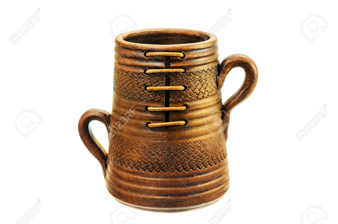 Ceramic Mug With Two Handles On A White Background Stock Photo