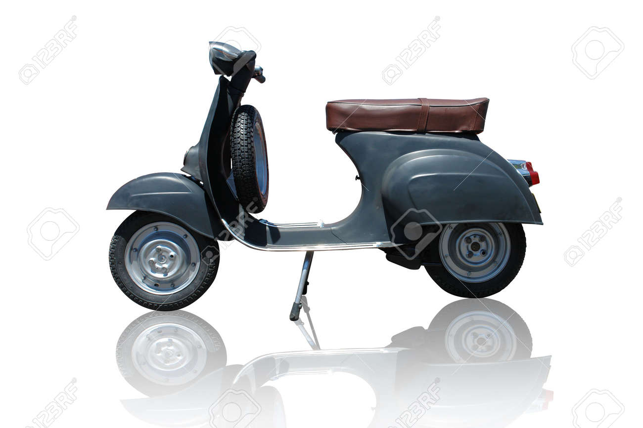 Vintage black vespa scooter. Vector path is included on file. Stock Photo - 3148873